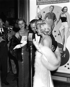 November 4, 1953 — Lauren Bacall & Marilyn Monroe at the premiere of How To Marry A Millionaire