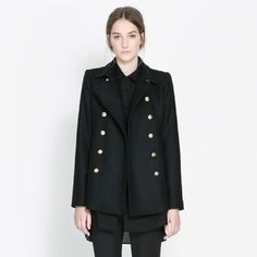 Zara Short Coat With Metallic Gold Buttons SZ L Zara short coat. Burberry like peacoat style. Gold metallic buttons. Front slash pockets. Double breasted. Fitted cut. Black color. Size large. No trades/PayPal. Zara Jackets & Coats
