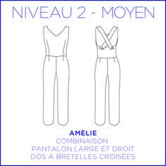 Patron - Combinaison Amélie, dos croisé, pantalon large et droit, patron à taille réelle du 34 au 46