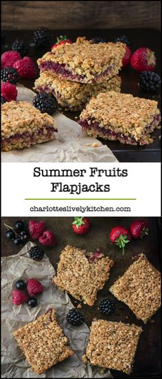Summer fruits flapjacks – A delightful mix of strawberries, raspberries, blackberries and blackcurrants, sandwiched between crunchy oats in this easy to follow flapjack recipe.