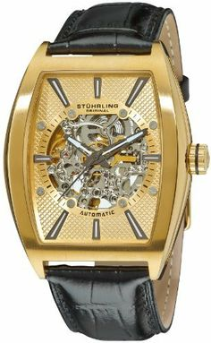 Stuhrling Original Men's 182C3.333531 Leisure Millennia Master Automatic Skeleton Gold Tone Watch Set Stuhrling Original. $139.00. Black alligator embossed genuine leather strap with interchangeable brown strap. Protective Krysterna crystal on front and back. Goldtone textured skeleton dial with gunmetal hands and markers. Polished yellow gold layered stainless steel tonneau shaped case with brushed finish bezel. Water-resistant to 165 feet (50 M)