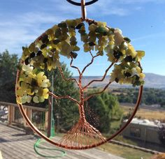 """'Tree of Life' Jade, Copper, 4 3/4""""  Mother of Pearl Moon. Beautiful Suncatcher, or Wall Hanging.  * The 'Tree of Life' holds special meaning for those who embrace it's Beauty. May this Tree of Life bring Peace,  Hope, Joy & Harmony to your Life."""