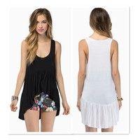 Wish | New Fashion Casual Loose Sexy Women Summer Round Neck Sleeveless Dovetail Hem Shirt Tank Top