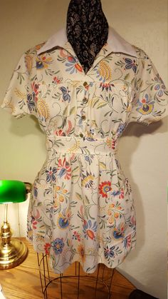 70's Polyester Floral Blouse by UmbrellaVintage on Etsy