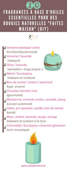 DIY - How to make a vegetable and natural candle - DIY Natural scented vegetable candle - infographic of fragrances based on essential oils to scent your homemade candles. Discover which scents to associate according to the seasons and your mood. Diy Gifts For Dad, Diy Baby Gifts, Diy Gifts For Boyfriend, Homemade Candles, Diy Candles, Diy Fragrance, Parfum Fragrance, Diy Dog Shampoo, Natural Candles