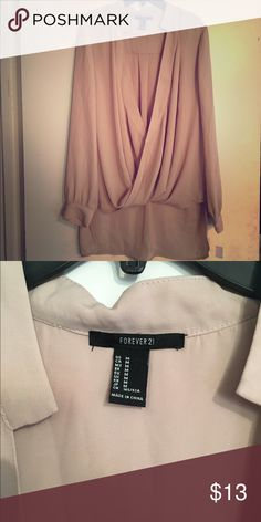 f6739d9bb074 Forever 21 Champagne Blouse Forever 21 Champagne Color Silk like Blouse.  Great for the office ‼