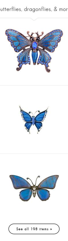 """Butterflies, dragonflies, & more"" by kristie-miles ❤ liked on Polyvore featuring jewelry, brooches, butterflies, pins, accessories, blue, crystal brooches, animal jewelry, deco jewelry and art deco jewelry"