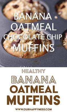 Banana Oatmeal Muffins, Healthy Banana Muffins, Banana Chocolate Chip Muffins, Good Healthy Recipes, Healthy Baking, Healthy Snacks, Healthy Yogurt, Sugar Free, Olive Oil
