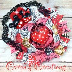 Mickey Mouse, Minnie Mouse, Mickey loves Minnie bow, Valentine's day, Valentine stacked boutique bow, hair bow, Disney, over the top, hearts, girls hair accessories