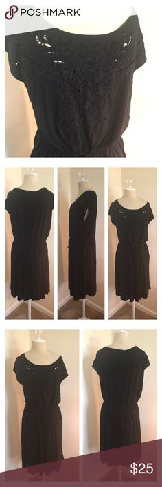 """Spense black dress missy size XXL Excellent condition black dress by Spense in missy size XXL. Appliqué at top and attached tank underneath. Adjustable elastic waist. Underarm to underarm 18"""", waist 19"""" but could go up or down, shoulder to hem 39"""". Spense Dresses"""