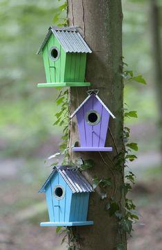 Haga clic para cerrar la imagen, haga clic y arrastre para mover. Garden Deco, Garden Yard Ideas, Garden Crafts, Garden Projects, Wooden Bird Houses, Bird Houses Painted, Bird Houses Diy, Homemade Bird Houses, Bird House Feeder