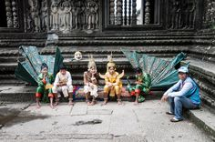 Dansers pauzeren in Angkor Wat (Cambodja)