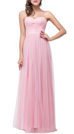 Babyonline Lady's Ruffle Neck Sheer Tulle Pink Long Fromal Bridesmaid Dress * Check out this great image  : Bridesmaid Dresses