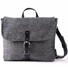Catherine Aitken - Munro Bag Grey Herringbone (10,950 PHP) ❤ liked on Polyvore featuring men's fashion, men's bags and mens leather bags