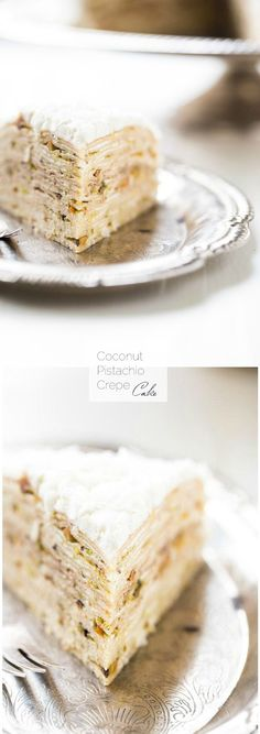 Coconut Pistachio Crepe Cake - A showstopping dessert that is surprisingly EASY! Pistachio Recipes, Coconut Recipes, Baking Recipes, Holiday Desserts, Just Desserts, Delicious Desserts, Yummy Food, Cupcake Recipes, Cupcake Cakes