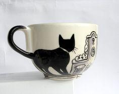 Amsterdam cats  Big Handpainted Mug made to by houseofharriet