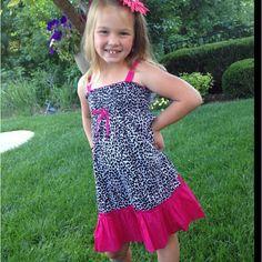 Black cheetah and hot pink sun dress!!! Perfect for size 7, 8, 10, 12, 14!!! Super fun!! :) www.facebook.com/bubblegumbabyboutique