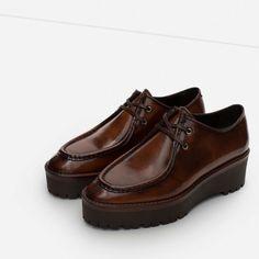 Zara Genuine Leather Platform Loafers