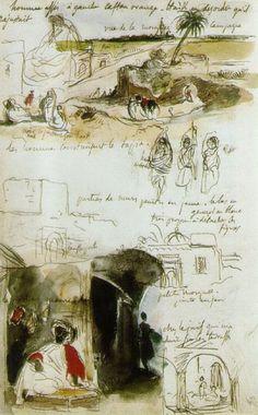 Eugène Delacroix, French, Page From The Moroccan Notebook, Kunstjournal Inspiration, Sketchbook Inspiration, Artist Journal, Artist Sketchbook, Art Sketches, Art Drawings, Art Postal, Travel Sketchbook, William Turner