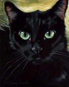 Dashing black cat Dastan, oil painting by Diane Irvine Armitage.