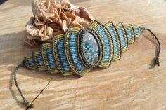 handmade macrame stone bracelet with azurite by ARTEAMANOetsy