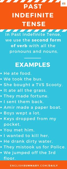 Past Indefinite Tense Rules and Examples English Grammar Tenses, English Verbs, English Vocabulary Words, Tenses Rules, Tenses Grammar, Past Indefinite Tense, Grammar Lessons, Word Of The Day, English Lessons