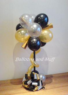 Balloon Table Topiary Centrepiece Decoration - Decoration For Home 50th Birthday Balloons, 75th Birthday Parties, 50th Birthday Party Decorations, Topiary Centerpieces, Balloon Centerpieces, Balloon Decorations Party, Balloon Topiary, New Years Eve Events, Balloons Galore