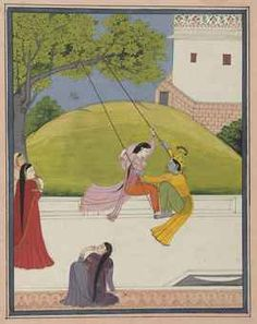 SAMYOGA: LOVE IN UNION: KRISHNA AND RADHA ON A SWING | NORTH INDIA ...