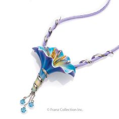 FJ00030 Franz Porcelain jewelry Morning Glory pendant Amazing art