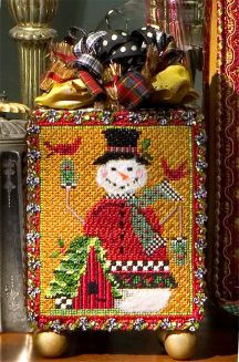 love all the ribbons on top, Kelly Clark snowman needlepoint canvas