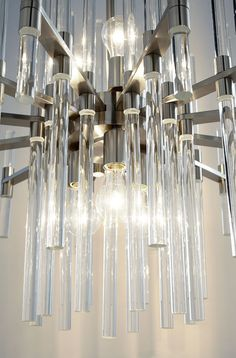 Small Quebec Six Light Pendant - x - Satin Nickel - Iron / Clear Glass Please allow 1 - 2 weeks to ship out and receive tracking. *This item is excluded from sale events and not availabl Dining Lighting, Foyer Decor, Modern Luxury Lighting, Burke Decor, Light Fixtures, Light, Globe Bulbs, Pendant Lighting, Luxury Lighting