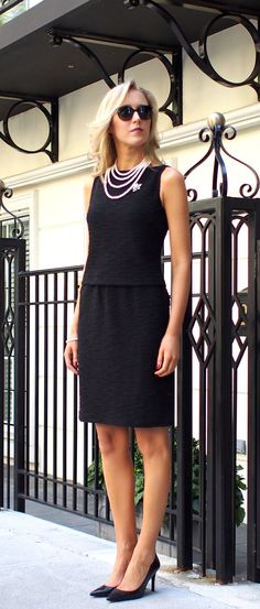 The Classy Cubicle: Classic {perfect black dress for work, office, professional, office, women, st. john, prada, ralph lauren, black boucle flutter dress, pearls, brooch, silver crystal, pumps, fall fashion}