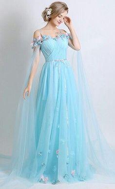 slash neck tulle long prom dress, off