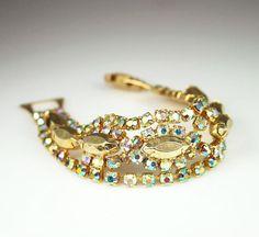 Vintage Bracelet Aurora Borealis Gold Metallic by zephyrvintage, $36.00 #vintagebracelet #vintagejewelry #vintagerhinestonebracelet #metallic #auroraborealis