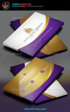Royal Church Business Card Template Need a church business card template minimal aesthetics? This beautiful lavender and gold color palette will give you a royal presentation.  This file can be used for multiple types of organizations and is easy to use and well organized. If you want the best presentation, you've come to the right place. Download today, the investment will be well worth it!