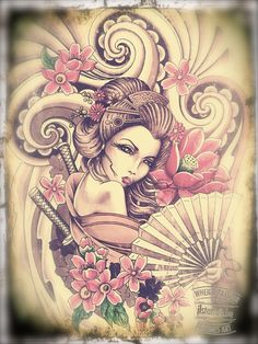 hình xăm geisha 34                                                                                                                                                                                 More Head Tattoos, Back Tattoos, Body Art Tattoos, Sleeve Tattoos, Sexy Tattoos For Women, Back Tattoo Women, Japanese Tattoo Art, Japanese Art, Tattoo Guerreiro