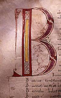Capitular Letter B from the Codice 46.  Códice 46: En los orígenes de la lengua y la cultura española    El primer diccionario enciclopédico de la Alta Edad Media (BRAH 46)