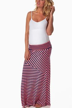 Pink-Navy-Blue-Striped-Maxi-Maternity-Skirt #maternity #fashion