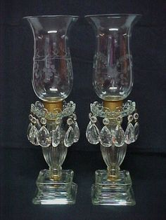 Art Deco Etched Crystal Luster Lamps from antiques4u on Ruby Lane