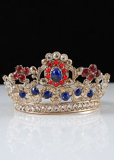 French Antique Gilt Brass Repousse Tiara with Multicolored Glass Jewels