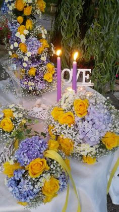 Wedding decors in yellow and lilac...