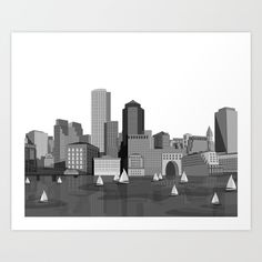 City Boston (Black&White) Art Print by GoFe. Worldwide shipping available at Society6.com. Just one of millions of high quality products available.