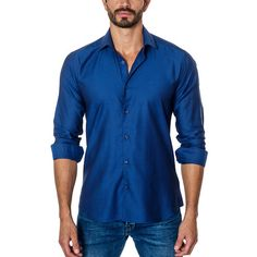 Patterned Long-Sleeve Button-Up // Blue (S)