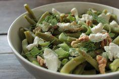 salade sperziebonen met geitenkaas walnoten venkel mosterd