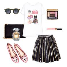 Printed t-shirt, pleated skirt, pink flats and black bag with gold chain