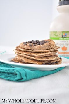 Healthy Chocolate Chip Chickpea Pancakes that come with a boost of protein and fiber! Vegan, gluten free and grain free!