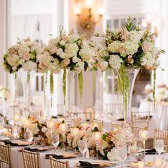 Elegant tall blush and ivory wedding centerpieces