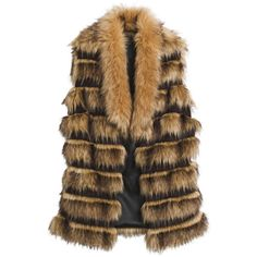 Faux-Fur Striped Vest Chicos ❤ liked on Polyvore featuring outerwear, vests, chicos vests, brown faux fur vest, faux fur waistcoat, fake fur vests and vest waistcoat