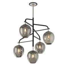 The Odyssey 5-light Large Pendant comes in a carbide black and polished nickel finish and a plated smoked shade. This fixture is made of hand worked wrought iron and glass material.