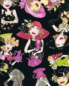 Loralie zany tea ladies. At eQuilter.com. This would be great for A one block wonder quilt.
